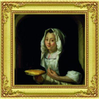 Schilderij het wafelmeisje klein